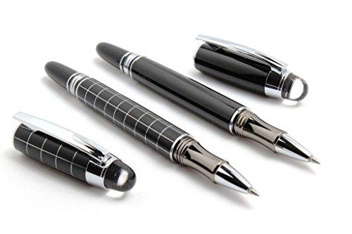 GOLD LEAF Shine Black & Checks Starwalker Roller Ball Pen Gift Set