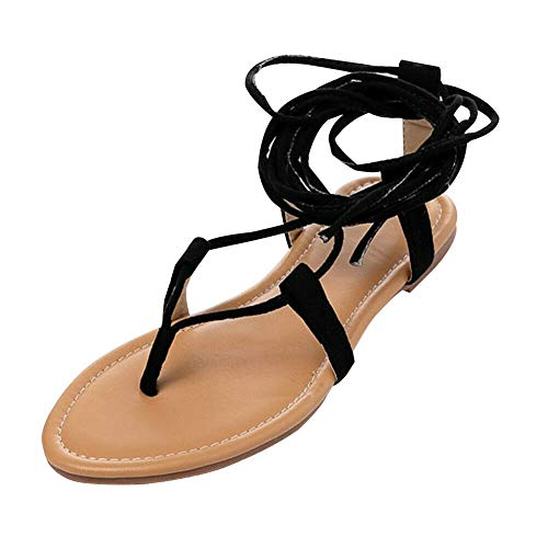 Haodasi Damen Open Toe Criss Cross Strappy Kniehohe Flache Sandalen Gladiatoren Ausschnitt Flip Flops Schuhe