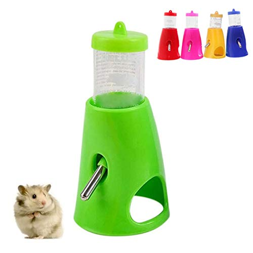 Yiteng ハムスター ボトル 給水器 リス モモンガ 水飲み器 水漏れ防止機能付き 便利 取り付け簡単 小動物用品 飼育ケージ内装 小動物の隠れ家 プラスチック製 (グリーン)