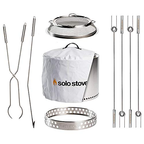 Solo Stove Ultimate Bonfire Bundle Includes Bonfire Stand, Spark Shield, Weather Cover, Roasting Sticks, Fire Pit Tools and Tools Great Fire Pit Accessories
