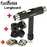 FunTomia Longboard Skateboard Drop Through Cruiser Komplettboard mit Mach1 High Speed Kugellager T-Tool mit und ohne LED Rollen - 7