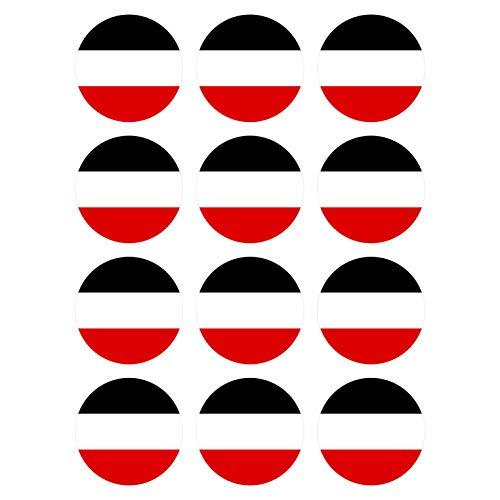 Generisch 12 Stück Aufkleber Deutsches Kaiserreich Reich Flagge Rund 4 cm | Germany Flag | wetterfest & UV Schutz | Set