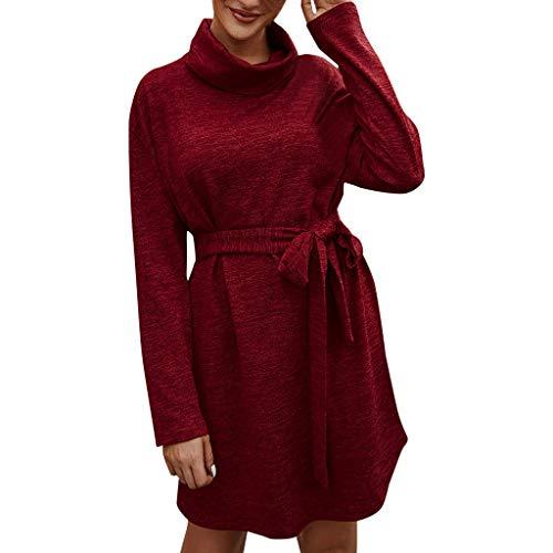 VENMO Damen Rollkragen Minikleid Beiläufiges Langarmkleid T-Shirt Kleid Cocktailkleid Pulloverkleid Strickkleid Bleistiftkleid