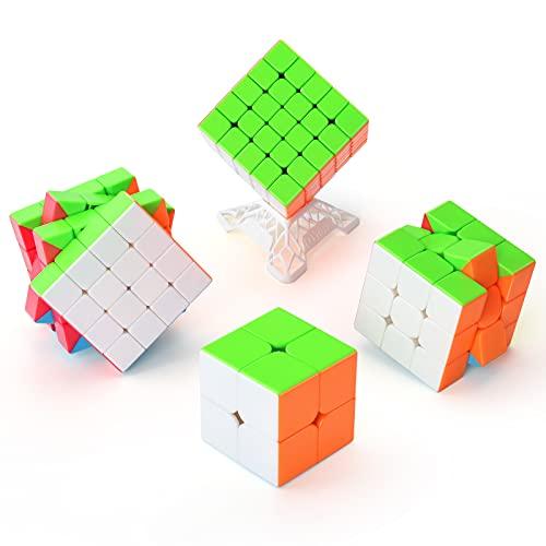 TOYESS Speed Cube Set, Cubo de Velocidad 2x2 3x3 4x4 5x5 Stickerless, Cubo Mágico Rompecabezas Juguetes Traje, Niños & Adulto (4 Pack)