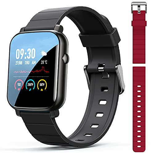 """Elvana Smart Watch Compatible with Android iPhone, Fitness Tracker Heart Rate Monitor w/ 1.3"""" Touch Screen, IP68 Activity Tracker for Women Men Kids, Sleep Monitor All-Day Heart Rate (2 Bands)"""