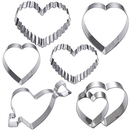 Hemoton Juego de 6 cortadores de galletas resistentes al calor, molde de acero inoxidable, forma geométrica de amor, cortador de chocolate para tienda en casa