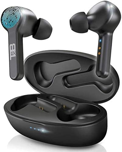 Tate Bauer Bluetooth 5 0 Wireless Earbuds with Charging Case Stereo Headphones in Ear Built product image