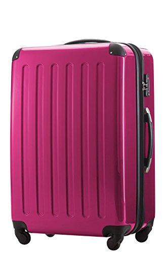 Hauptstadtkoffer - Alex 2er Koffer-Set Koffer Trolley Rollkoffer Reisekoffer Erweiterbar, 4 Rollen, 65+75 cm, 74+119 Liter, Pink +Design Kofferanhänger