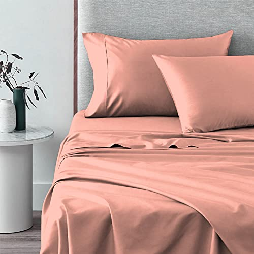 400 Thread Count Cotton Sheets-Set-King Size, 100% Long Staple Cotton Pastel Pink-King-Size Sheets, Luxurious Sateen Weave Cotton Bed-Sheets Set Deep Pocket fit Upto 15 inch (Pastel Pink King Bed Set)