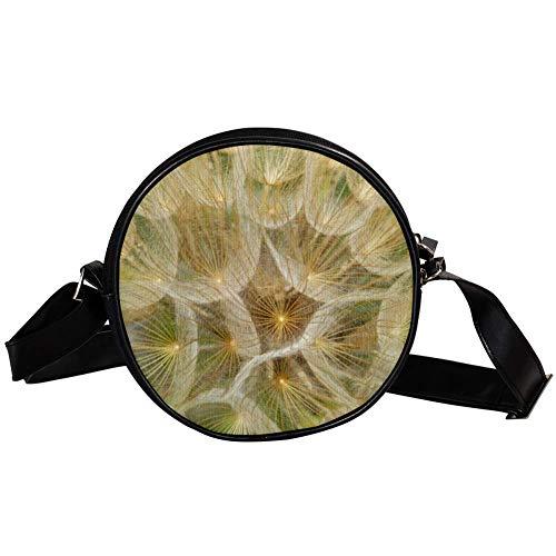 Bennigiry Damen Handtasche mit Pusteblumen-Motiv, rund, Schultertasche, Tragegriff, für Mädchen