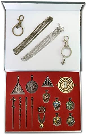 Magic Wand Set for Kids with Time Turner Necklace Wand Cosplay Weapon Metal Toy Magical Wand product image