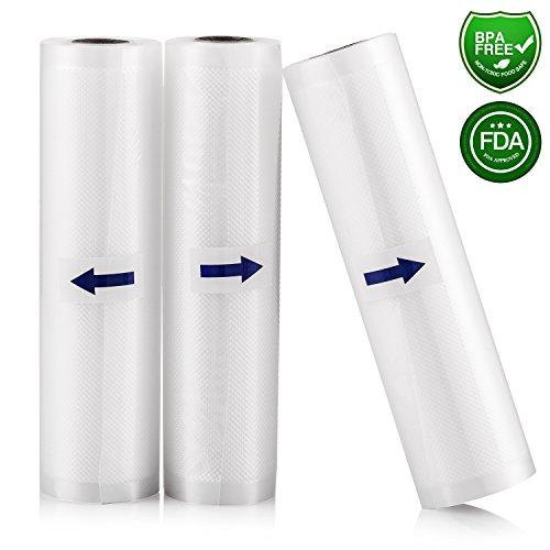 3 Rotoli sacchetti per sottovuoto, 20 x 500 cm di KitchenBoss per Sigillatrice per Sottovuoto
