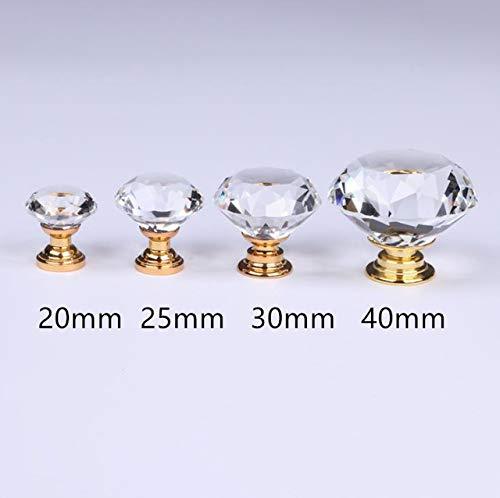 Piore 20 MM geslepen diamanten kristallen knop Transparante diamanten kristallen knop Keukenhardware Kabinet Handvat Gift Sieradendoos Kleine knop, gouden afwerking, diameter 40 mm
