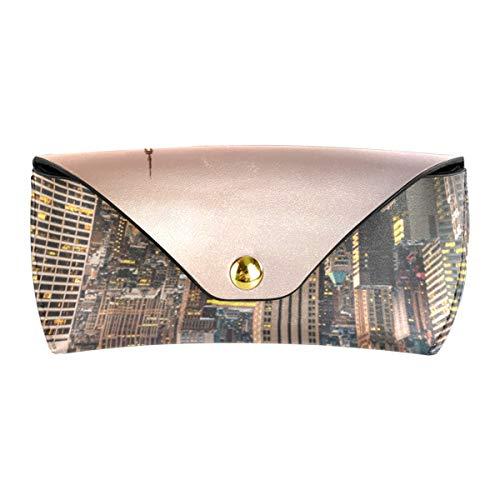 Bolsa de gafas de cuero PU portátil Multiuso Oficina Urban Sunset Skyline Ciudad de Nueva York Gafas Gafas de sol Estuche