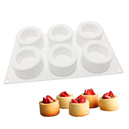 BESTonZON 6 Hohlraum-Kuchen-Form DIY Kuchen Schimmel 3D Silikonform für Pudding Schokolade Mousse Dessert Küche Backformen