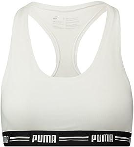 PUMA Iconic Racer Back Bra 1P Ropa Interior, Mujer, Blanco, Medium