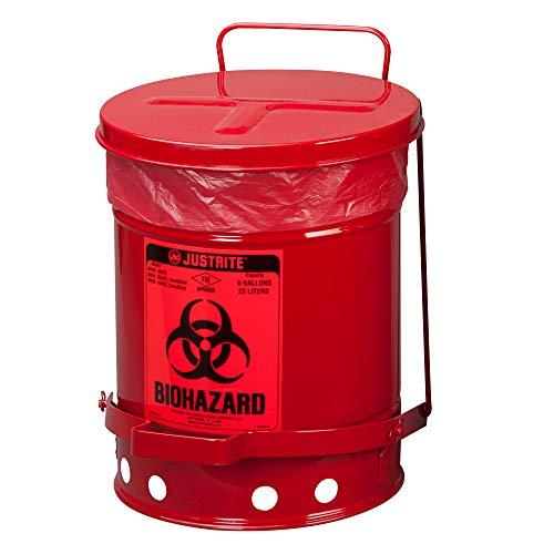 Justrite 05910R Biohazard Waste Can, 6 Gal, Red