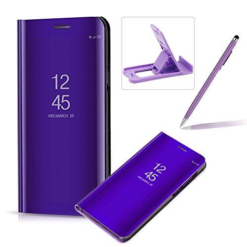 Coque Huawei Mate 9 Clapet, Herzzer Housse Étui en PU Cuir Luxe Placage Technologie avec Transparente Miroir Design Bumper Dur PC Backcover Protector Fonction Stand pour Huawei Mate 9 - Violet