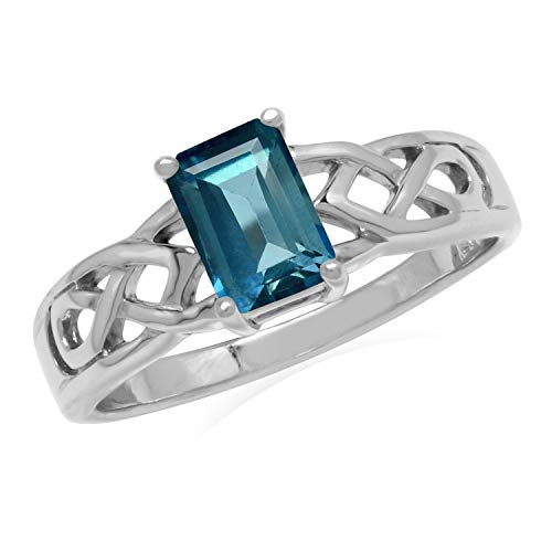 Silvershake 1.22ct. 7X5mm Genuine Octagon Shape London Blue Topaz 925 Sterling Silver Celtic Knot Solitaire Ring Size 9.5
