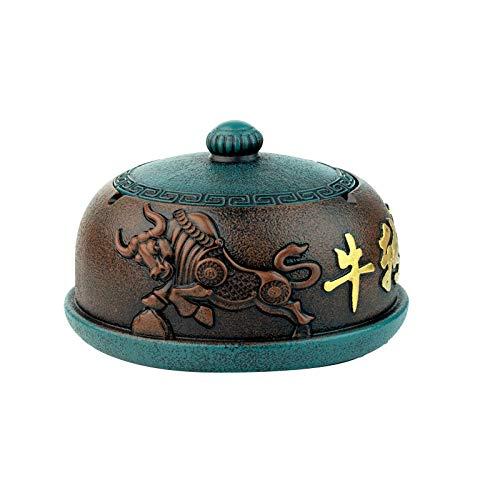 Cenicero Cenicero de resina para la sala de estar del hogar-Cubierta azul marrón body_16 * 16 * 9.5