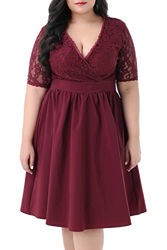 Nemidor Women's Half Sleeves V-Neckline Lace Top Plus Size Cocktail Party Swing Dress (Wine Red, 18W)