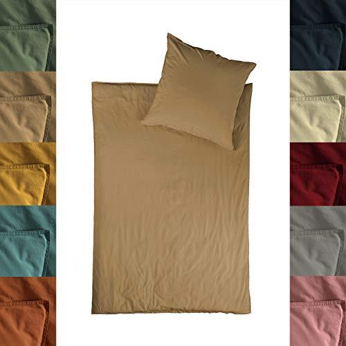 jilda-tex Bio-Bettwäsche Stone-Washed Lissabon 100% Bio-Baumwolle Knitterlook Stehsaum Uni Made in Green (Sand, 135 x 200 cm)