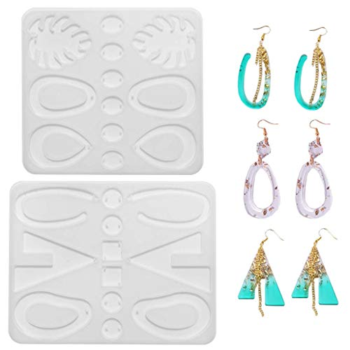 Daimay 2 moldes de resina epoxi para pendientes, joyería moldes de silicona, diseño de gota y pendientes, juego de herramientas para manualidades, estilo bohemio para mujeres, niñas resina, 9+10