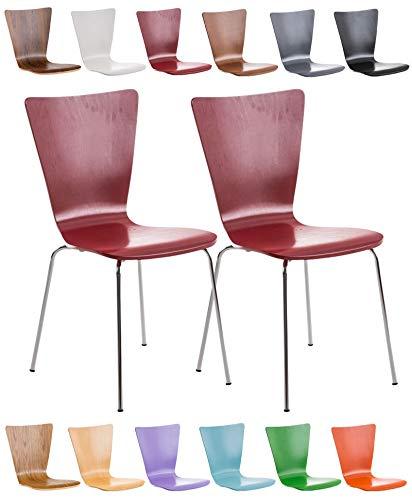 CLP Set 2X Sillas de Visita Aaron I Juego de 2X Silla de Comedor con Asiento de Madera I 2X Silla de Cocina Apilable I Color: Rojo