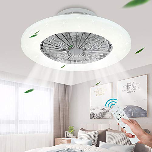 DLLT Ceiling Fan with Led Lights, 20'' Modern Ceiling Fan with Remote Control and Light for Indoor Bedroom Living Room Kitchen, Low Profile Ceiling Fans 3 Color Lighting with 7 ABS Blades, Timing