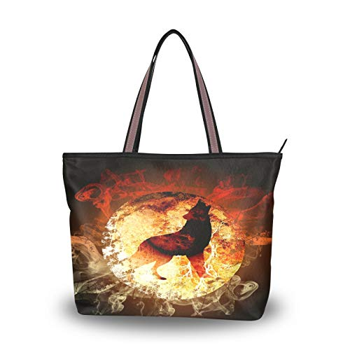 RULYY Large Tote Bags Fire Wolf Mist Moon Women Handbags with Zipper Ladies Girls Shoulder Bag for School,Work,Shopping,Travel
