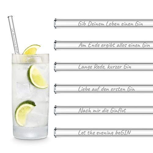 HALM Glasstrohhalme Gin Sprüche Edition 6x 20cm mit gravierten Gin-Sprüchen in Deutsch Strohhalm Trinkhalm Glasstrohalm Gin-Tonic Geschenk