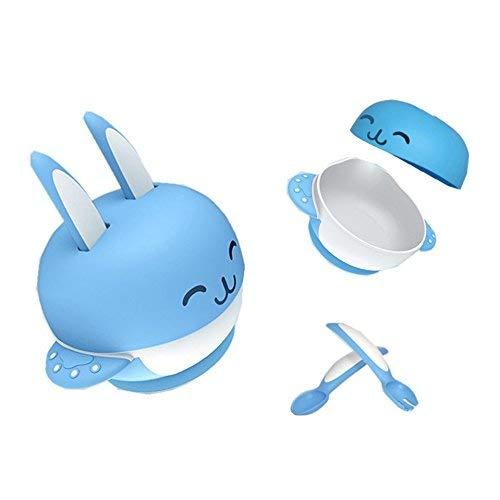 Itian Baby Toddler Training Stay Placer un bol d'aspiration avec un couvercle et une 2 cuillères à couteaux, une vaisselle pour nourrissons 4 set, Bleu