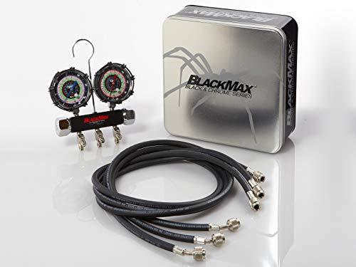 CPS Products BlackMax MBH4P5Z 2-Valve Manifold Gauge Set, R-134A, 22, 404A, 410A Gauges & 5' Premium Hoses