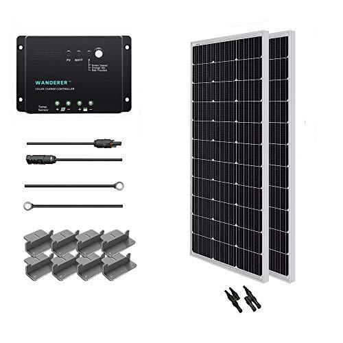 RENOGY 12 voltios 200 vatios Kits solares: 2pc 100W módulo de panel solar fotovoltaico PV + cable solar + 30A controlador solar + Z Soportes + MC4 Y conectores