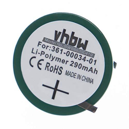vhbw Knopfzellen-Akku passend für Garmin Forerunner 405, 405CX, 410, 410CX Smartwatch Uhr Fitnessarmband (290mAh, 3.7V, Li-Polymer)