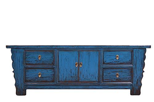 OPIUM OUTLET Sideboard Lowboard TV Vintage, Aparador Cómoda Azul, Salon, Dormitorio, Comedor, Shabby, Antiguo