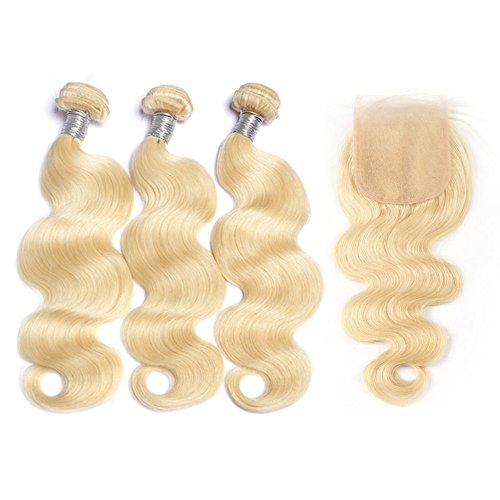 Mila Blond 613# 3pc Humain Cheveux Tissage 100% Remy Bresilien Naturel Meches Ondules avec Lace Closure (12\