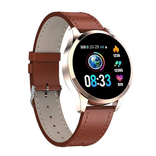 Q9 Smartwatch Correa de cuero para reloj de fitness impermeable (marrón)