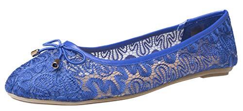 Fitters Footwear That Fits Damen Ballerina Tina Textil Häkelmuster Ballerinas leicht Übergröße (43 EU, blau)