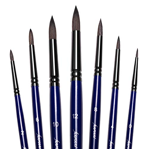 Sable Pointed-Round Paint Brushes Set, 7pcs Professional Artist Paintbrushes for Watercolor Acrylic Ink Gouache Oil Tempera Painting, Face Body Art, Craft and Paint by Number (Blue)