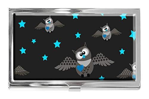 Tarjetero de Acero Inoxidable con diseño de búhos y Estrellas Azules para Tarjetas de Visita, para Hombres y Mujeres
