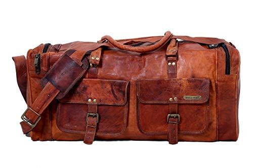 Borsa da viaggio grande da viaggio in vera pelle vintage a mano da 24 pollici