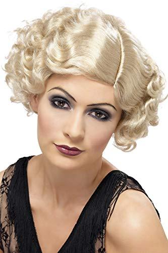 Smiffys Damen 20er Jahre Kurzer und Lockiger Flapper Bob Perücke, Blond, One Size, 42003