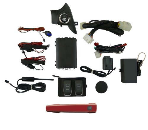 EasyGO AM-LEG-H2Q Smart Key Remote Start and Alarm System with Venetian Red Pearl Driver's Door Handle for Subaru Legacy