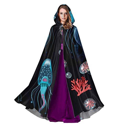 Rtosd Aquarium Quallen Fisch Algen Kostüm Mantel Mit Kapuze Mädchen Mit Kapuze Mantel 59 Zoll Für Weihnachten Halloween Cosplay Kostüme