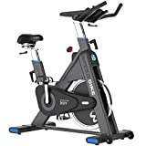 pooboo Commercial Exercise Bikes Stationary, Indoor Cycling Bike with Comfortable Seat Cushion, 44lbs Flywheel, LCD Monitor for Home Cardio Workout (Black)