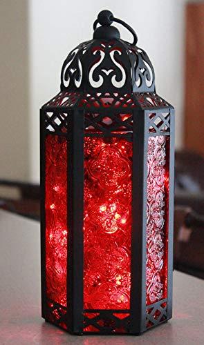 Vela Lanterns Moroccan Style Candle Lantern with LED Fairy Lights, Medium, Red Glass