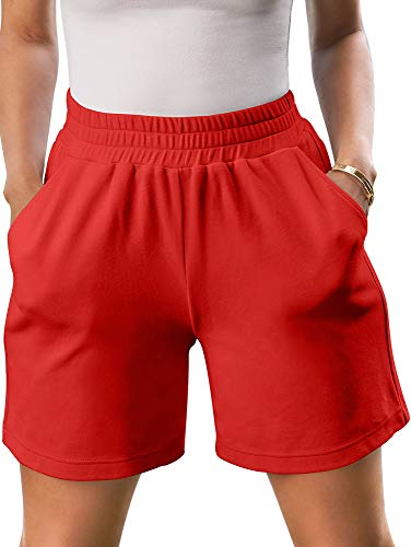 TOB Women's Casual Soft Elastic Wist Pull-On Shorts with Pockets Red