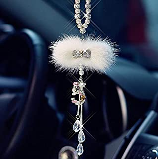 SZWGMY Crystal Car Hanging Pendant Car Rearview Mirror Pendant Hanging Ornament Love Car Accessories Home Decoration (White)