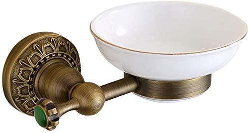AINIYF Cuarto de baño Cuarto de baño estante de baño Jabón de almacenamiento montado en la pared del plato de jabón barra de cremallera estilo europeo retro latón Instalación Cerámica Soap Box Punch (